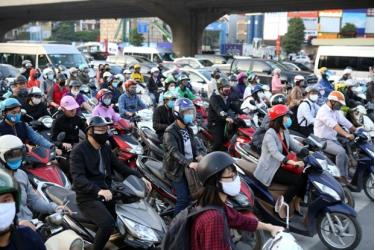 Streets in Hanoi have become crowded again after the Government eased social distancing measures in late April, 2020.
