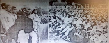 Bác Hồ nói chuyện với nhân dân các dân tộc Yên Bái tại sân vận động thị xã năm 1958.