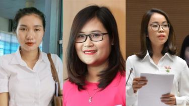Các đại biểu Quàng Thị Nguyệt, Hà Ánh Phượng, Triệu Thị Huyền (từ trái qua phải) trúng cử đại biểu Quốc hội khóa XV