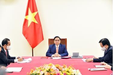 Thủ tướng Phạm Minh Chính điện đàm với Thủ tướng Đức Angela Merkel.