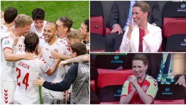 Nữ thủ tướng Đan Mạch Mette Frederiksen cổ vũ đội nhà trên khán đài với nhiều khoảnh khắc ăn mừng rất phấn khích