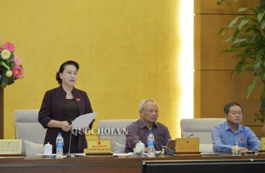 Chủ tịch Quốc hội Nguyễn Thị Kim Ngân phát biểu bế mạc phiên họp.