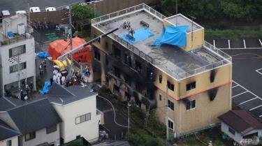 Tòa nhà bị hỏa hoạn nhìn từ trên cao