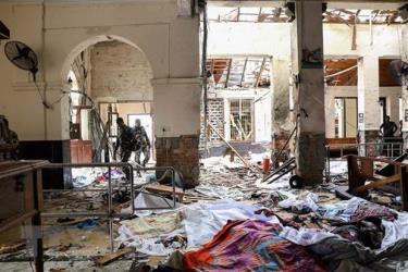 Hiện trường vụ nổ ở nhà thờ St. Anthony ngày 21/4/2019.