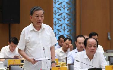 Bộ trưởng Bộ Công an Tô Lâm phát biểu.