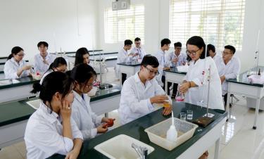 Giờ thực hành của cô và trò Trường THPT Chuyên Nguyễn Tất Thành.