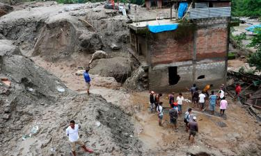 Một ngôi nhà bị mưa lũ và lở đất phá hủy ở huyện Sindhupalchok, Nepal, hôm 9/7.