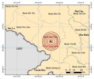 Tâm chấn được ghi nhận ở huyện Mộc Châu, tỉnh Sơn La. (Ảnh Báo Yên Bái)