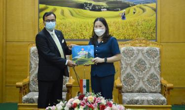 "Vice Chairwoman of Yen Bai's People's Committee Vu Thi Hien Hanh presents the book ""Yen Bai – dat va nguoi"" (Yen Bai – Land and People) to Indian Embassy in Vietnam."