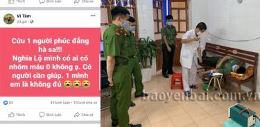 Cán bộ, đoàn viên, thanh niên Công an huyện Văn Chấn cùng 2 thanh niên trên địa bàn huyện tham gia hiến máu cứu người.