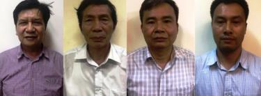 Các bị can: Trần Ngọc Hà, Lâm Chí Quang, Vũ Từ Công, Nguyễn Mạnh Chung. Ảnh BCA
