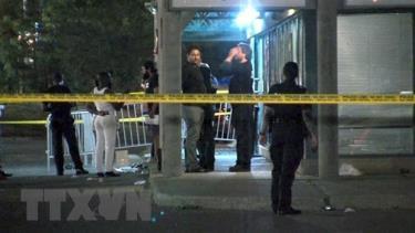 Hiện trường vụ xả súng tại hộp đêm ở Toronto, Canada, ngày 5/8/2019.