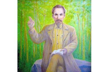 Tranh sơn dầu Bác Hồ nói chuyện với cán bộ kháng chiến ở rừng Thông - Ðông Sơn - Thanh Hóa của tác giả Hoàng Hoa Mai.