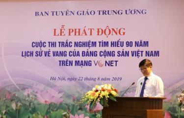 Đồng chí Nguyễn Thanh Long - Phó Trưởng ban Tuyên giáo Trung ương, Trưởng ban Tổ chức Cuộc thi phát biểu tại Lễ phát động.