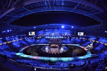 Quang cảnh lễ khai mạc Cuộc thi Tay nghề thế giới lần thứ 45 tại Kazan.