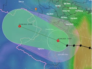 Tâm áp thấp nhiệt đới suy yếu từ bão số 2 nằm trên đất liền Thanh Hóa lúc 13h.