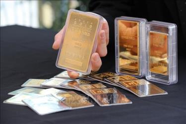 Vàng miếng được bán tại Sàn giao dịch vàng ở Seoul, Hàn Quốc.