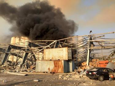 Khung cảnh vụ nổ tại Beirut.