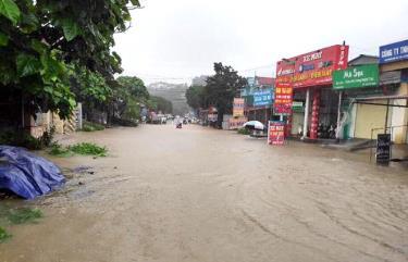 Mưa to sáng 6/8 làm các tuyến đường ở thị trấn Nông trường Trần Phú và xã Cát Thịnh (huyện Văn Chấn) ngập sâu ảnh hưởng đến việc đi lại của nhân dân.