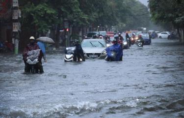 Mưa lớn gây ngập lụt cục bộ tại một số nơi tại Hải Phòng.