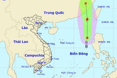 Dự báo hướng đi của áp thấp nhiệt đới khả năng thành bão.