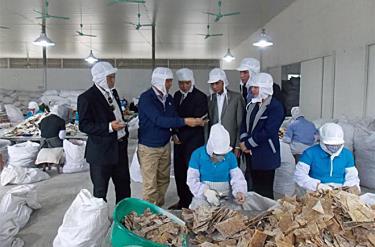 Lãnh đạo Liên minh HTX tỉnh thăm quan khu chế biến măng tre Bát độ xuất khẩu.