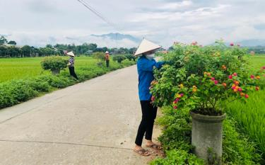Local residents in Son A commune take care of flowers along the lighted, green, clean and beautiful road in the locality.