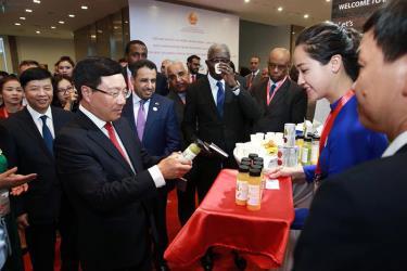 Phó Thủ tướng, Bộ trưởng Bộ Ngoại giao Phạm Bình Minh và các đại biểu thăm khu trưng bày sản phẩm đặc sắc từ các địa phương và các nước trong khu vực Trung Đông - châu Phi.
