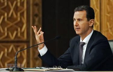 Tổng thống Syria Bashar al-Assad phát biểu trong một cuộc họp tại Damascus.