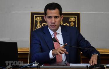 Trong ảnh: Thủ lĩnh đối lập Juan Guaido tại cuộc họp Quốc hội ở Caracas, Venezuela, ngày 13/8.