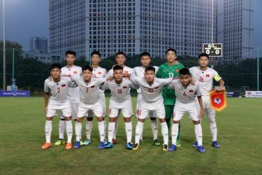 Đội hình xuất phát của U16 Việt Nam ở trận gặp U16 Mông Cổ.