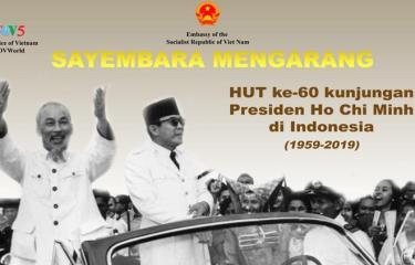 Tranh cổ động Cuộc thi viết về chuyến thăm lịch sử của Chủ tịch Hồ Chí Minh tới Indonesia.
