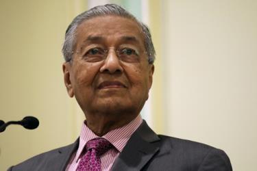 Thủ tướng Malaysia Mahathir Mohamad trong buổi ra mắt Khung Chính sách đối ngoại của Malaysia mới tại thành phố Putrajaya hôm 18/9.