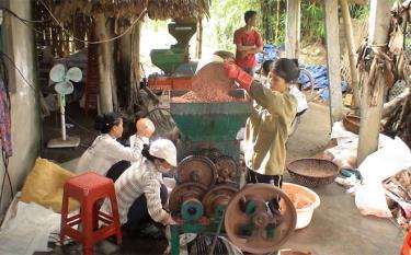 Người dân xã Minh Xuân sản xuất phân viên nén dúi sâu phục vụ sản xuất nông nghiệp.