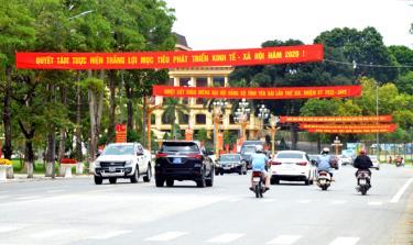 Thành phố Yên Bái trang hoàng rực rỡ trước ngày Đại hội. (Ảnh: Đức Toàn)