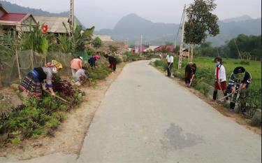 Women in Ban Lung village, Phong Du Thuong commune take care of flower beds along the road.