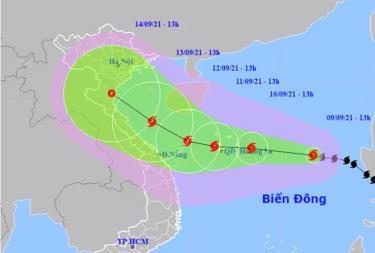 Dự báo hướng đi và vùng ảnh hưởng của bão Côn Sơn.