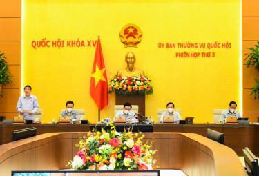Phó chủ tịch Quốc hội Nguyễn Đức Hải điều hành phiên họp Ủy ban Thường vụ Quốc hội sáng 16-9.