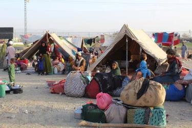 Người tị nạn Afghanistan tại các khu lều tạm ở khu vực biên giới giữa Afghanistan và Pakistan, ngày 31/8/2021.