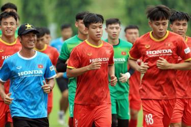 U23 Việt Nam đang tập luyện tại Trung tâm đào tạo bóng đá trẻ Việt Nam để chuẩn bị cho vòng loại U23 châu Á 2022.