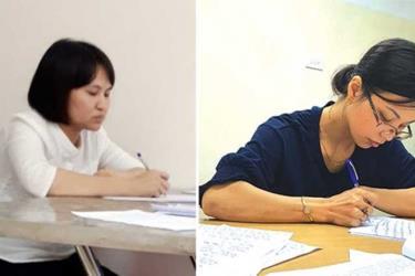 Hai đối tượng Nguyễn Thị Vân và Vũ Kim Oanh tại cơ quan Công an. (Ảnh: Công an cung cấp)