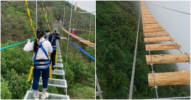 Cầu treo mạo hiểm vắt vẻo trên núi cao ở Sapa.