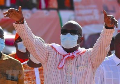 Tổng thống Burkina Faso đương nhiệm Roch Marc Christian Kabore trong cuộc vận động tranh cử ở Ouagadougou, ngày 20/11/2020