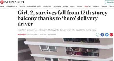Trang tin Independent (Anh) đưa tin về hành động nhanh chóng của anh Mạnh (Ảnh chụp màn hình)