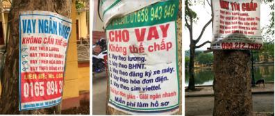 Các quảng cáo cho vay không thế chấp được dán ở nhiều nơi trên địa bàn thị trấn Yên Thế.
