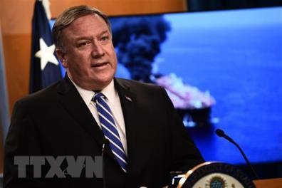Ngoại trưởng Mỹ Mike Pompeo phát biểu trong cuộc họp báo tại Washington, DC.