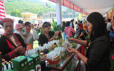 Van Yen cinnamon cooperative introduces cinnamon-made products at a fair.