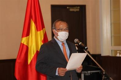 Vietnamese Ambassador to Japan Vu Hong Nam speaks at the press conference on the second Vietnam Summit in Japan.